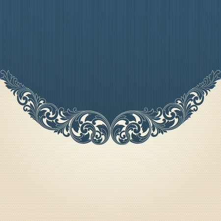 Vintage flourish engraving pattern border frame card invitation Vector
