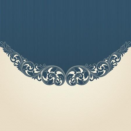 invitation card: Vintage flourish engraving pattern border frame card invitation