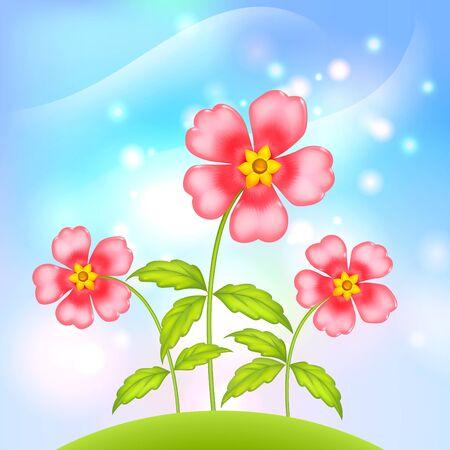 vector Pink little flowers growing at green summer hill Çizim