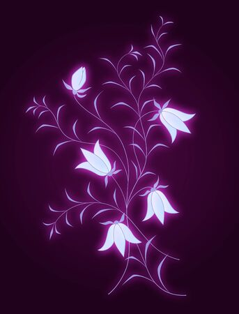 vector floral pattern with bluebells on dark background Vector