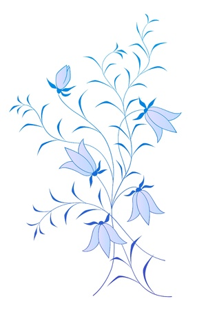 bluebells: vector floral pattern with bluebells on white background Illustration