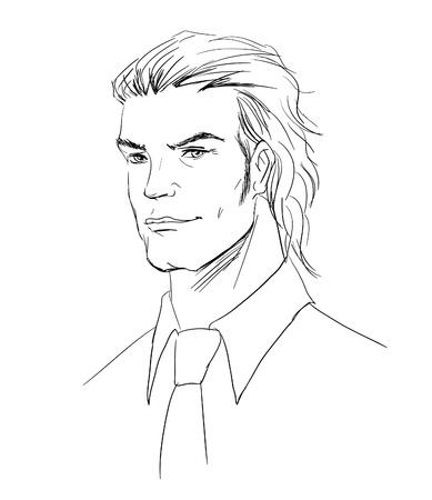 handsome boys: vector sketch man portrait