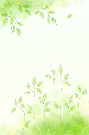 Vector spring card with green foliage