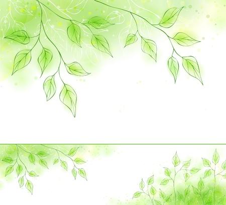 녹색 단풍 벡터 봄 배너 일러스트