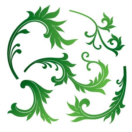 Ensemble de vecteurs d'éléments de décoration florale Banque d'images - 12497648
