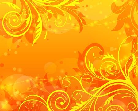 Vecteur sur fond orange avec motif floral Banque d'images - 12497683