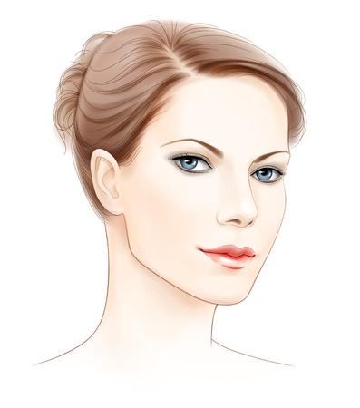 gezicht: vector gezicht portret van mooie jonge vrouw Stock Illustratie