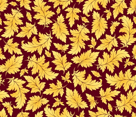 vector seamless golden leaves floral pattern Stok Fotoğraf - 12497658