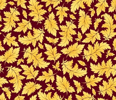 japanese motif: vector seamless golden leaves floral pattern
