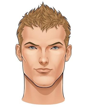 je�ne: Face � Vecteur de beau jeune homme
