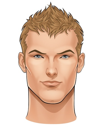 man face: Vector gezicht van knappe jonge man Stock Illustratie
