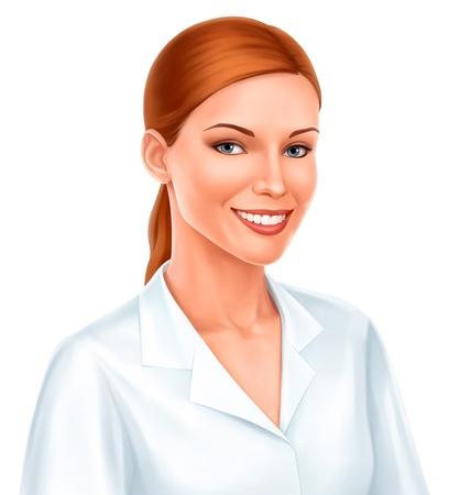jonge mooie zakenvrouw of arts lachend in wit overhemd op een witte achtergrond Vector