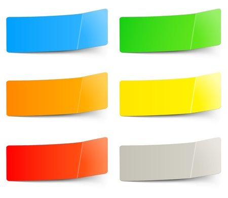 set of multicolored stickers and labels or tags Vector