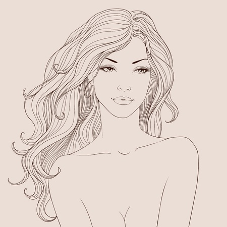 Fashion beautiful woman with long wavy hair. Vector Vector