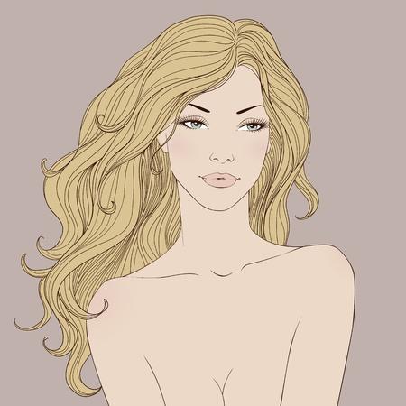 긴 곱슬 머리를 가진 유행 아름 다운 여자. 벡터