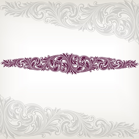 Vintage baroque border frame card flower motif pattern vector Vector