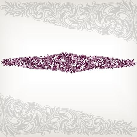 Vintage baroque border frame card flower motif pattern vector