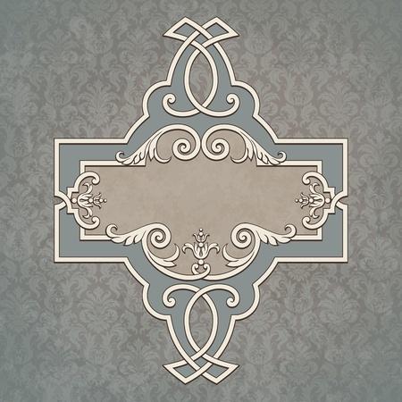 벡터 빈티지 테두리 프레임 그런 지 배경 복고풍 장식 패턴 바로크 스타일 장식 디자인