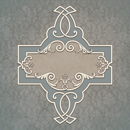 Vector vintage border frame grunge background retro ornament pattern baroque style decorative design