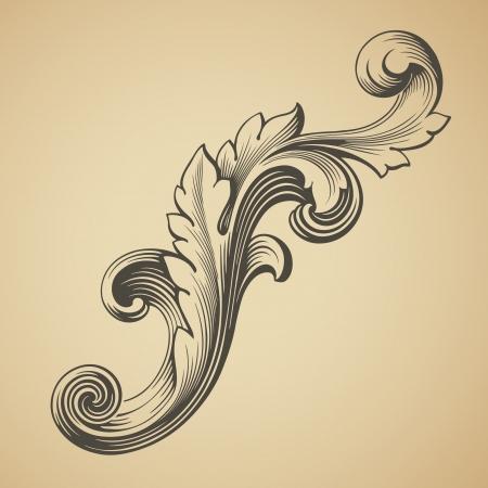 복고 스타일을 새기는 벡터 빈티지 바로크 양식의 디자인 프레임 패턴 요소 일러스트