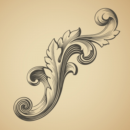 vector vintage Baroque design frame pattern element engraving retro style Vector