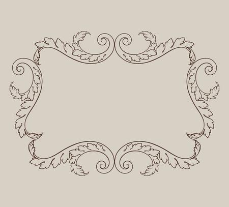 vintage border frame engraving with retro ornament pattern in antique baroque style decorative design Illustration