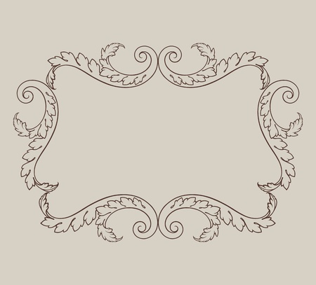 rococo: vintage border frame engraving with retro ornament pattern in antique baroque style decorative design Illustration