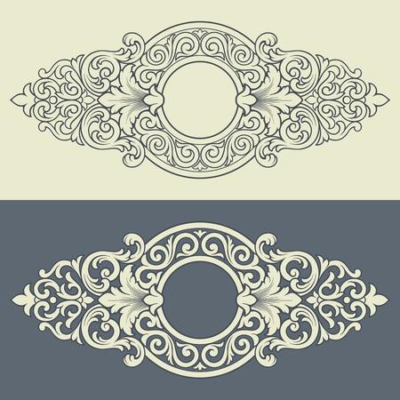 acanto: Vector frontera �poca grabado en marco con ornamento patr�n retro de filigrana en el dise�o antiguo estilo decorativo del barroco Vectores