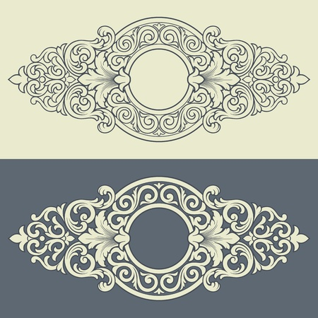 Vector vintage border frame engraving with retro ornament filigree pattern in antique baroque style decorative design Ilustração