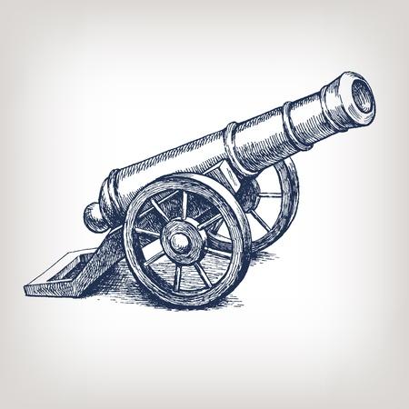 벡터 고대의 대포 빈티지 잉크 조각 그림 팔 무기 손으로 그린 낙서 스케치 일러스트
