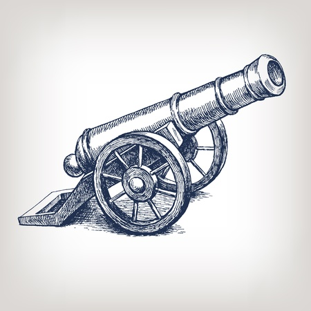 Vector ancient cannon vintage ink engraving illustration arm weapon hand drawn doodle sketch Ilustração