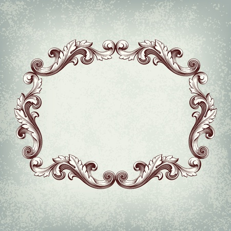 Vector vintage border frame engraving with retro ornament pattern in antique baroque style decorative design grunge background