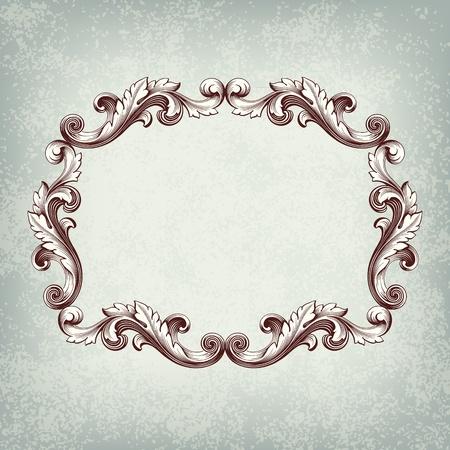 barocco: Vettoriale vintage cornice incisione confine con l'ornamento retro in epoca barocca disegno di sfondo decorativo grunge style