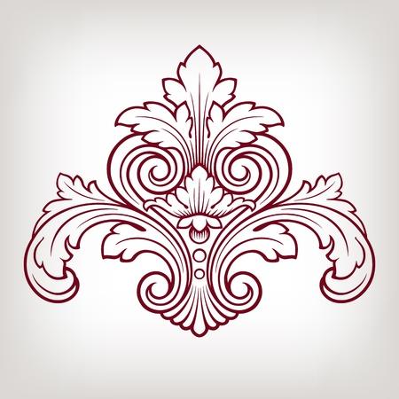 vintage Baroque damask  design frame pattern element engraving retro style Illustration