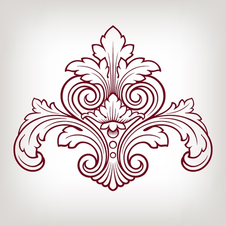 vintage Baroque damask  design frame pattern element engraving retro style Illustration