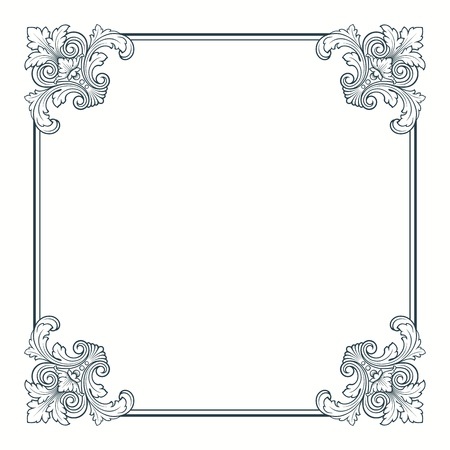 calligraphic ornate vintage frame border decorative design
