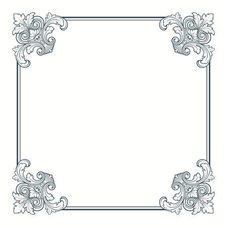 calligraphic ornate vintage frame border decorative design Vector