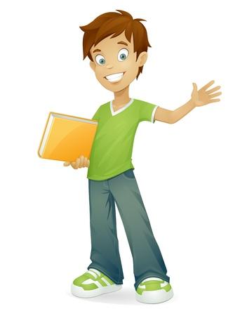 zapatos escolares: muchacho de la historieta con el libro de la escuela sonriendo y saludando aislado en blanco