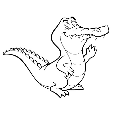 crocodile cartoon alligator line art coloring book black and white drawing illustration Vettoriali