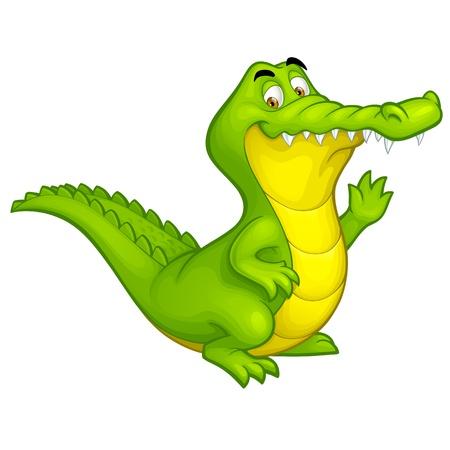 흰색 배경에 고립 된 행복 재미 악어 만화 미소 악어 문자 그림