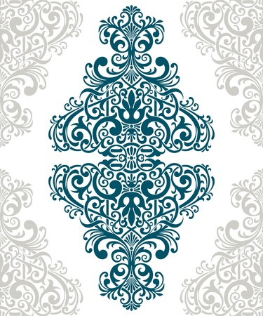 vintage baroque border frame card cover flower motif arabic retro pattern ornate Ilustração