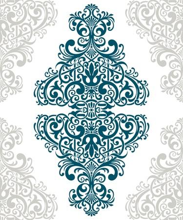 vintage baroque border frame card cover flower motif arabic retro pattern ornate Illustration