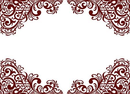 vintage baroque border frame card background flower motif arabic retro pattern ornate Illustration