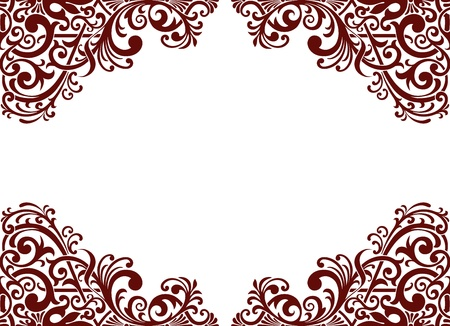 vintage baroque border frame card background flower motif arabic retro pattern ornate Illustration