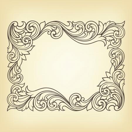 Gravure millésime cadre frontière avec ornement rétro dans la conception de style antique rococo décoratif Banque d'images - 14557280