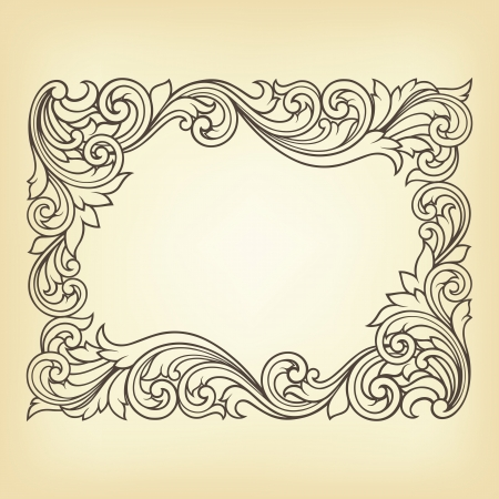 rococo: vintage border frame engraving with retro ornament pattern in antique rococo style decorative design
