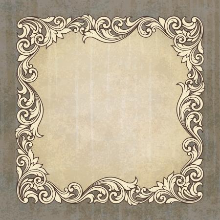골동품 바로크 스타일의 복고풍 장식 패턴을 가진 그런 지 배경에 빈티지 테두리 프레임 조각 장식 디자인 초대 카드 일러스트