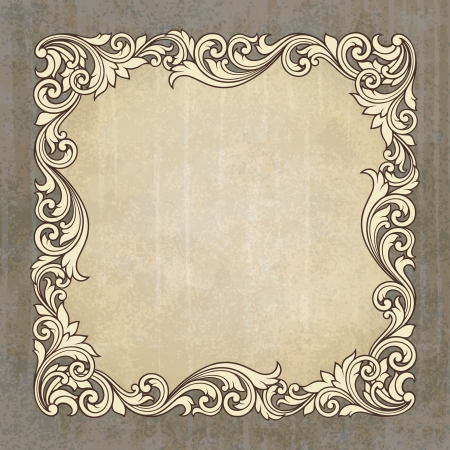 calligraphic: vintage border frame engraving at grunge background  with retro ornament pattern in antique baroque style decorative design invitation card