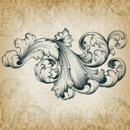 vintage barokke gravure bloemen scroll filigraan design frame grens acanthus patroon element op retro grunge damastachtergrond Stock Illustratie