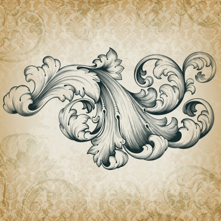 antique fashion: vintage baroque engraving floral scroll filigree design frame border acanthus pattern element at retro grunge damask background